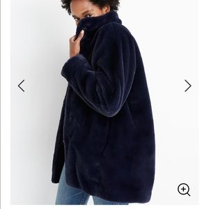Madewell faux fur coat midnight blue large